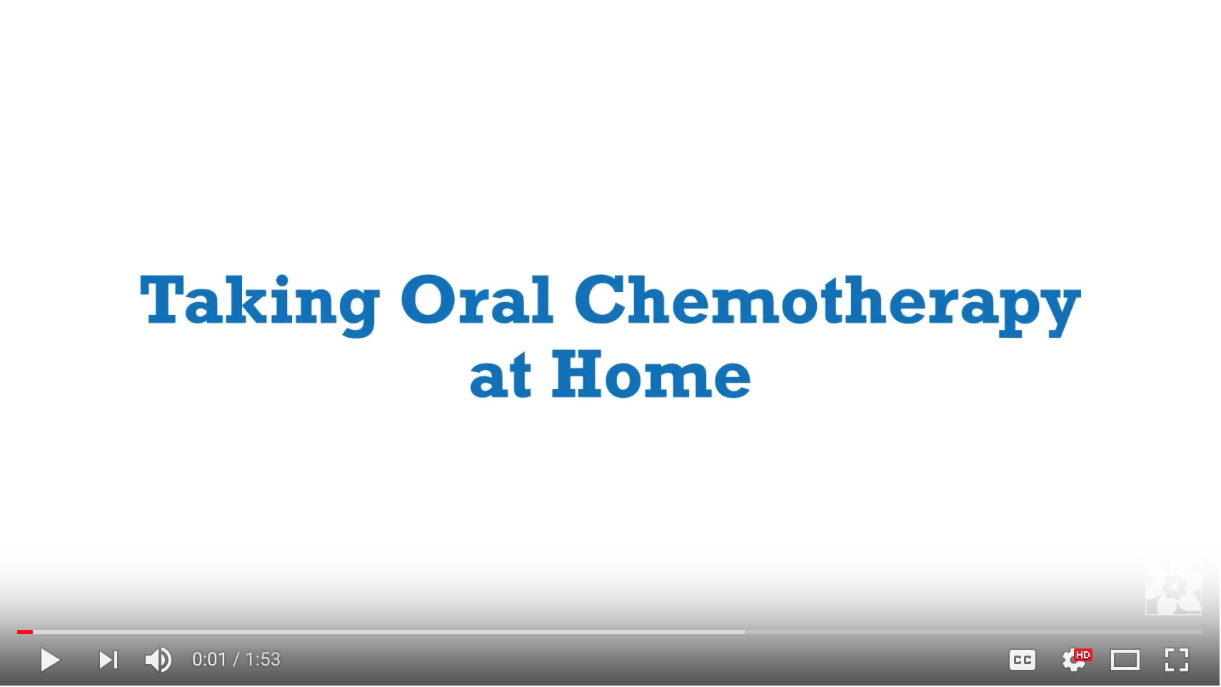 Canadian Cancer Society, Taking oral chemotherapy at home