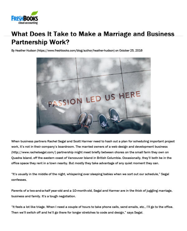 Freshbooks, What does it take to make a marriage and business partnership work?